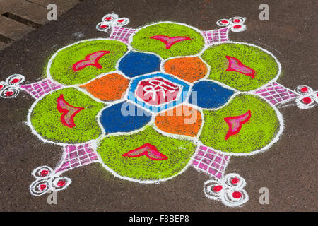 Rangoli pattern Mala Fontainhas Panjim Goa India - Stock Photo