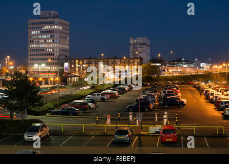 View across Warwick Road station car park to Friargate area, Coventry, UK - Stock Photo