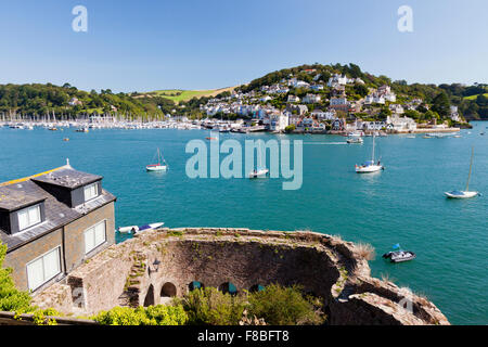 Looking out over Bayard Castle ruins on the River Dart in Dartmouth towards Kingswear, Devon, England, UK - Stock Photo