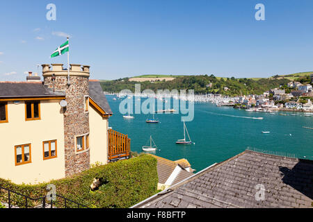 Looking out across the River Dart towards Kingswear from Dartmouth, Devon, England, UK - Stock Photo