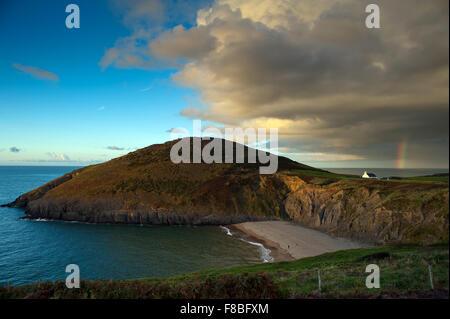 Mwnt beach, storm and rainbow - Stock Photo