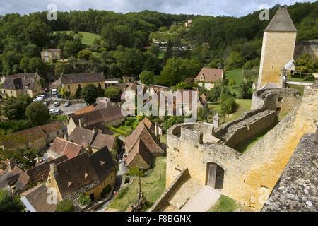 The rooftops of the village of Castelnaud from the castle, Castelnaud-la-Chapelle, Dordogne, Aquitane, France - Stock Photo