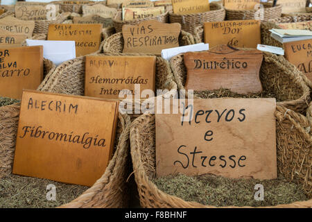 Herbal medicines in baskets. Portuguese language. - Stock Photo