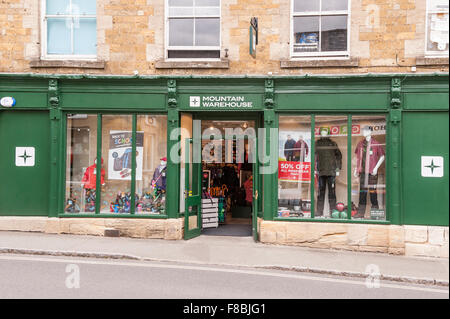 The Mountain Warehouse outdoor clothing shop store at Stow-on-the-Wold , Cheltenham , Gloucestershire , England - Stock Photo