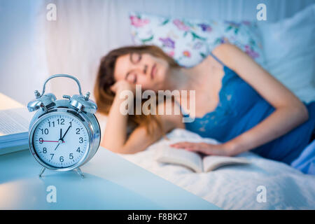 Woman resting bed. - Stock Photo