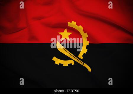 Wavy and rippled national flag of Angola background. - Stock Photo