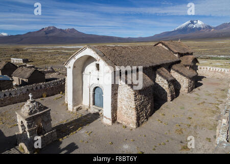 Photograph of the small church in Sajama in the Sajama National Park in Bolivia. - Stock Photo