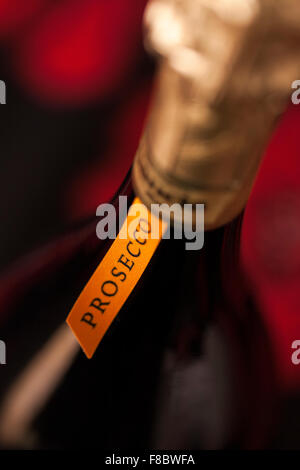 Close up detail of the label and neck of a bottle of Italian Prosecco wine. - Stock Photo
