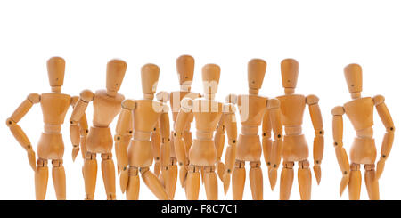 Group of wooden dummies isolated on white. Concept of the spectators, witnesses, community, team - Stock Photo