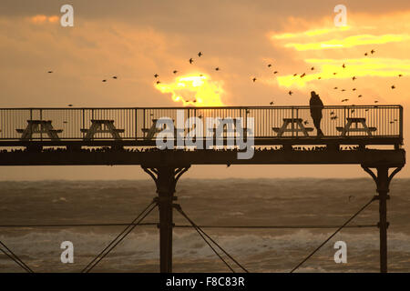 Aberystwyth Wales UK, Tuesday 08 December 2015  A employee  patrols the deck of Aberystwyth pier in an attempt to - Stock Photo