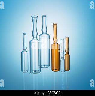 line of pharmaceutical phial - Stock Photo