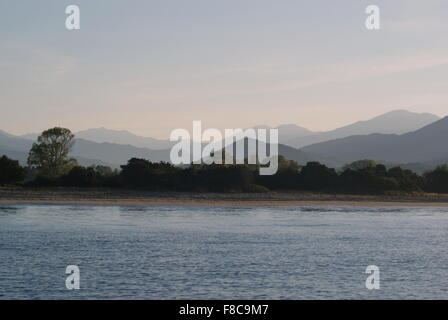 Early morning view across the bay to Taravo beach, Corsica - Stock Photo