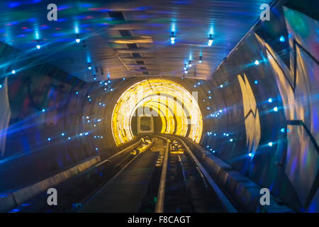 Bund Sightseeing Tunnel, Pudong, Shanghai, China - Stock Photo