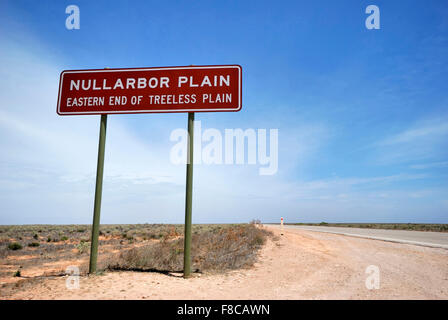 Sign on the Eyre Highway, Nullarbor Plain,of Treeless Plain, South Australia - Stock Photo