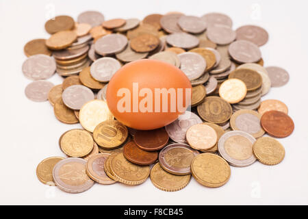 egg lying on and coins - Stock Photo