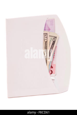 euro and dollars in open envelope isolated on white - Stock Photo