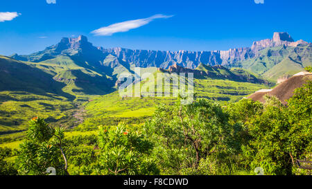 Panoramic view of the Drakensberg National Park in Kwazulu Natal - Stock Photo