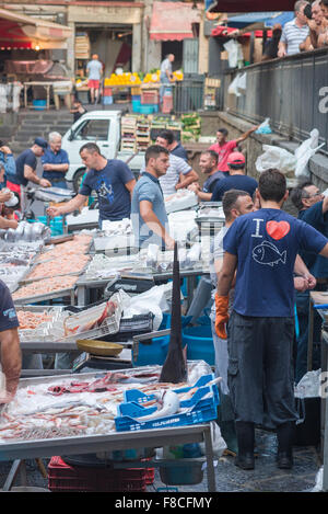 Catania fish market, view of a busy morning in the famous fish market in Catania, Sicily. - Stock Photo