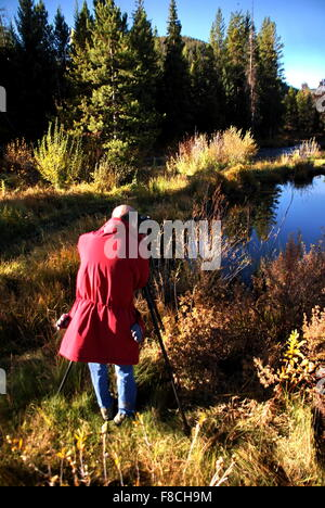 Man in red coat , photographer taking pictures of Fall foliage in Colorado. - Stock Photo