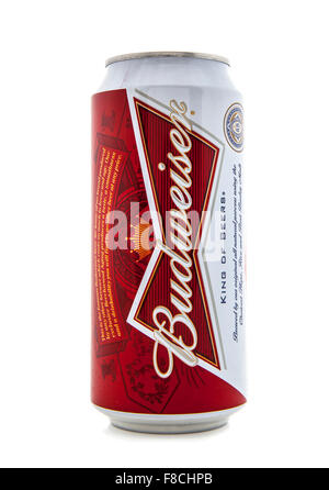 Can of Budweiser beer on a white background - Stock Photo