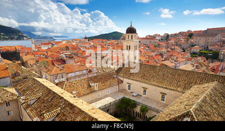 Aerial view of Dubrovnik Old Town, Croatia - Stock Photo