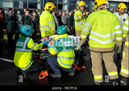 Emergency services car accident simulation in Londonderry, Northern Ireland - Stock Photo