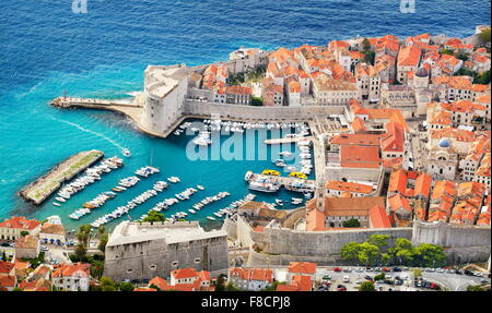 Dubrovnik old town, elevated view to harbor, Croatia - Stock Photo