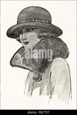 Flapper fashion of the 1920s. Felt pull on hat available in various colours. - Stock Photo
