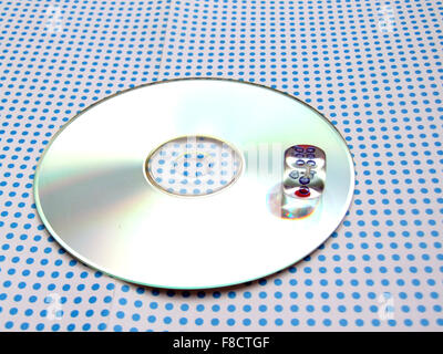 gamblig dice on doted background - Stock Photo