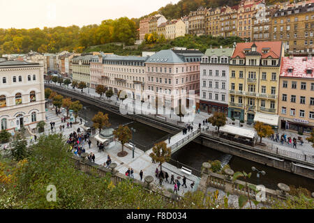 CARLSBAD, CZECH REPUBLIC, OCTOBER 10, 2015  - Historic city center of the  spa town Karlovy Vary (Carlsbad) - Stock Photo