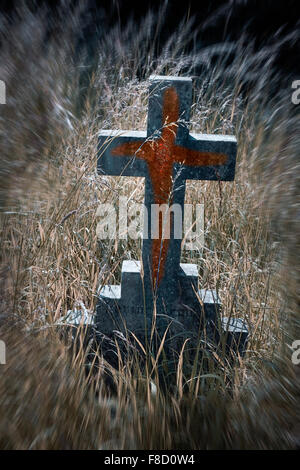 cross running with blood - Stock Photo