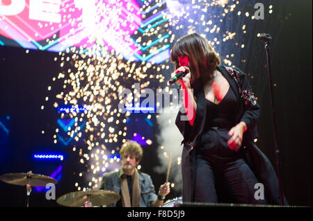 Glasgow, Scotland, UK. 08th Dec, 2015. Foxes performs at the Clyde 1 Live Concert at SSE Hydro, Glasgow, UK on Tuesday - Stock Photo