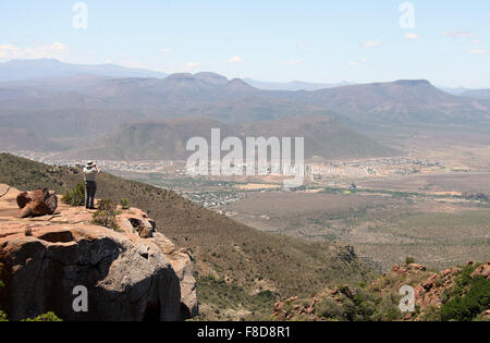 Traveller at Camdeboo National Park in the Great Karoo of South Africa - Stock Photo