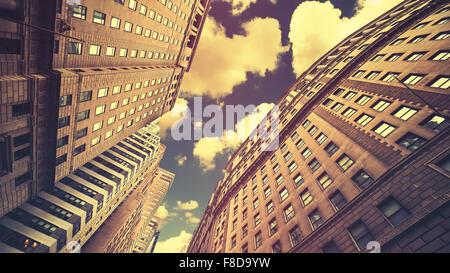 Retro toned skyscrapers in Manhattan NYC, USA. - Stock Photo