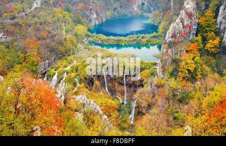 Plitvice Lakes National Park, autumn landscape, Plitvice, Croatia, UNESCO - Stock Photo