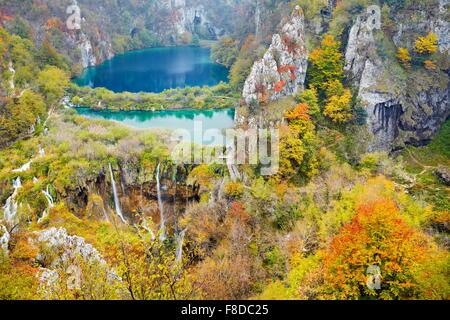 Plitvice Lakes National Park at autumn, Croatia, UNESCO - Stock Photo