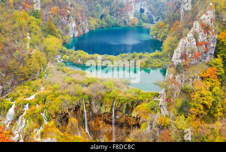 Croatia - Autumn Landscapes of Plitvice Lakes National Park, UNESCO - Stock Photo