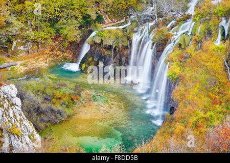 Waterfall in Plitvice Lakes National Park, autumn landscape, Croatia, UNESCO - Stock Photo