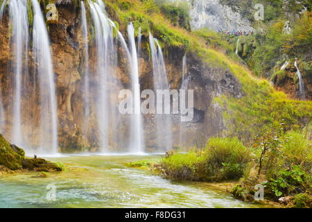 Waterfalls in Plitvice Lakes National Park, Croatia UNESCO - Stock Photo