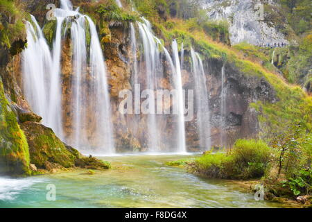 Waterfall in Plitvice Lakes National Park, Croatia, UNESCO - Stock Photo