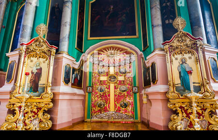Gilded cross the iconostasis of the Russian Orthodox Church of the Holy Spirit, Vilnius old town, Lithuania, eastern - Stock Photo