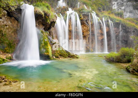 Waterfalls in Plitvice Lakes National Park, Croatia, UNESCO - Stock Photo