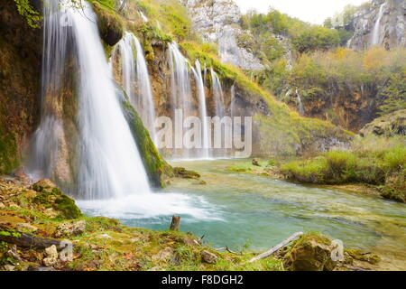 Croatia - Waterfalls in Plitvice Lakes National Park in autumn, UNESCO - Stock Photo