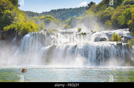 Krka waterfalls, Krka National Park, Croatia, Europe - Stock Photo