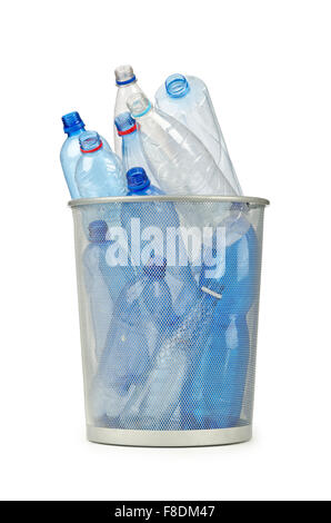 Empty plastic water bottles on white - Stock Photo
