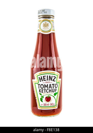 Heinz Classic bottle of Tomato Ketchup on a white background - Stock Photo