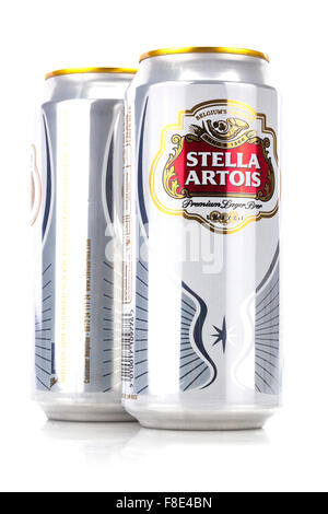 Cans of Stella Artois 5% lager beer isolated on a white background. - Stock Photo