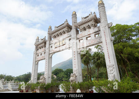 Side view of the Mountain Gate at the Po Lin Monastery on Lantau Island in Hong Kong, China. - Stock Photo