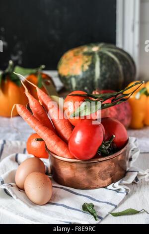 Fresh farmers garden vegetables - Stock Photo