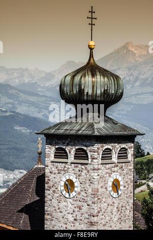 Downtown of Liechtenstein kingdom capital,Vaduz, tiny country in Europe - Stock Photo
